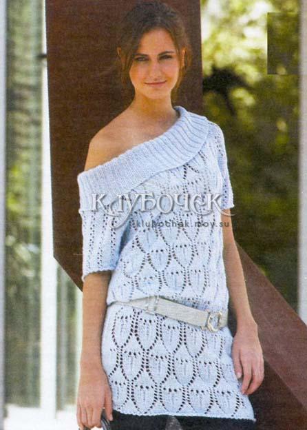 Туника спицами с ажурными узорами Вязаные платья, туники, длинные свитера и пуловеры Постила